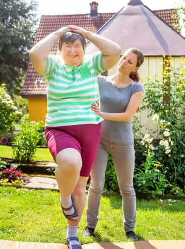 two woman doing physical therapy